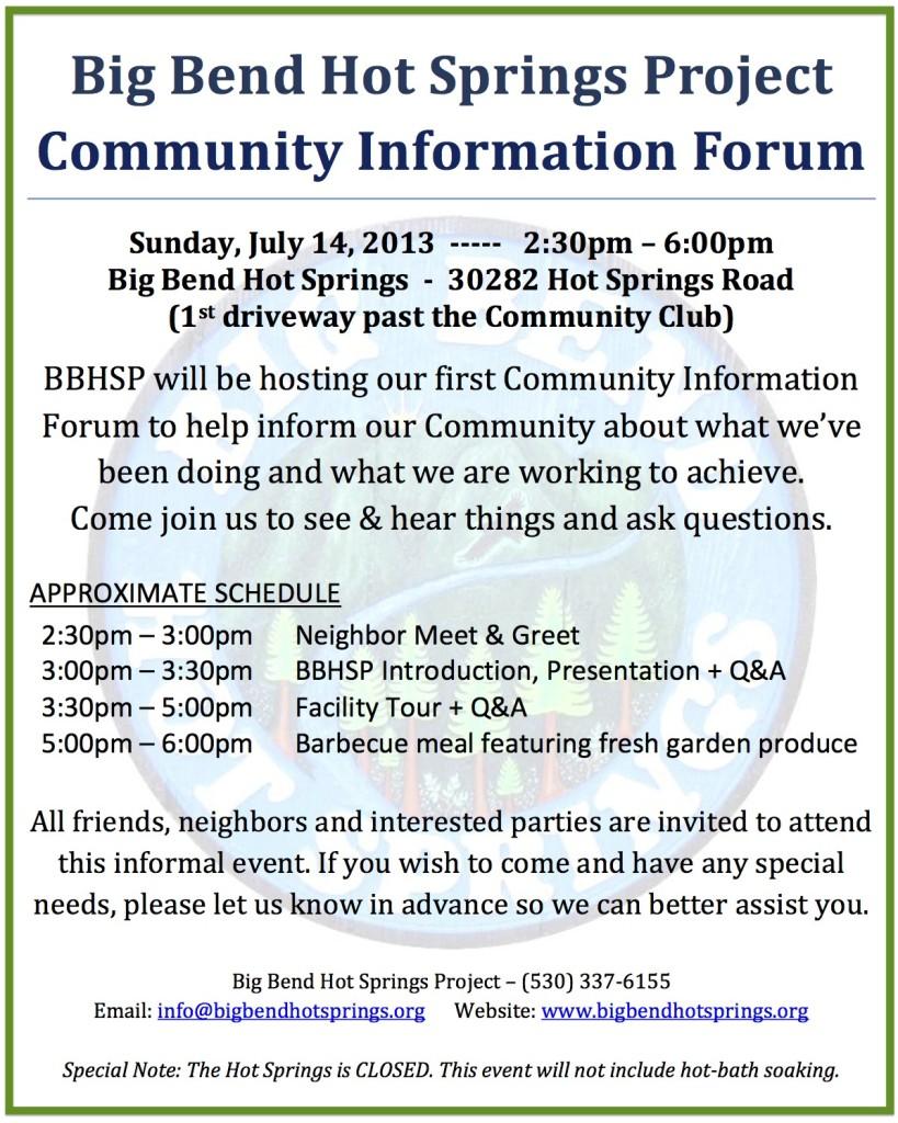 BBHSP Community Information Forum Flyer #1